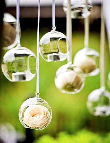 Colgante Planta de vidrio Florero para el té Luz Candelabro Planta Terrario Adorno de aire Planta de maceta Contenedor Suculentas Jardín en miniatura para la decoración del del hogar(24 pcs, 8cm)