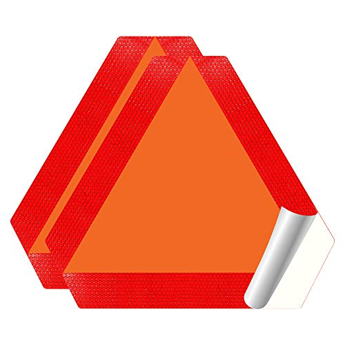 """IGNIXIA (Pack of 02) Slow Moving Vehicle Sign, PVC Vinyl Decal Slow Moving Vehicle Triangle Sticker, 14""""x 16"""" Inches Orange base with Reflective border, SMV Sign for Golf Cart, UTV, safety Triangle signs"""