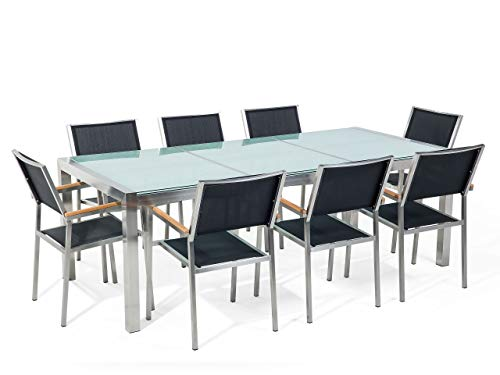Beliani - Table de Jardin et 8 Chaises - Grosseto - Plateau Triple en Verre Effet Brisé, 220x100 cm, Chaises en Textile, Transparent et Noir