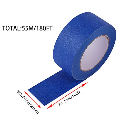 """4 Pack 2"""" x 60 yd Blue Painter's Tape, Easy - Tear, Pro - Grade Removable Masking Tape for Basic Painting, 4 Rolls, 240 Total Yards Photo #5"""