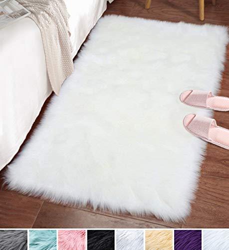 LOCHAS Ultra Soft Fluffy Rugs Faux Fur Sheepskin Area Rug for Bedroom Bedside Living Room Carpet Nursery Washable Floor Mat, 2x3 Feet White