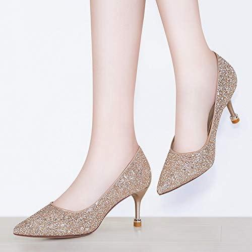 PINGXIANNV High-Heeled Weißlichen Spitzen Flache Flache Flache Schuhe Stiletto Pailletten Damenschuhe  günstig online