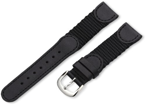 Hadley-Roma 19mm 'Men's' Leather Watch Strap, Color:Black (Model: MSM866RA 190)