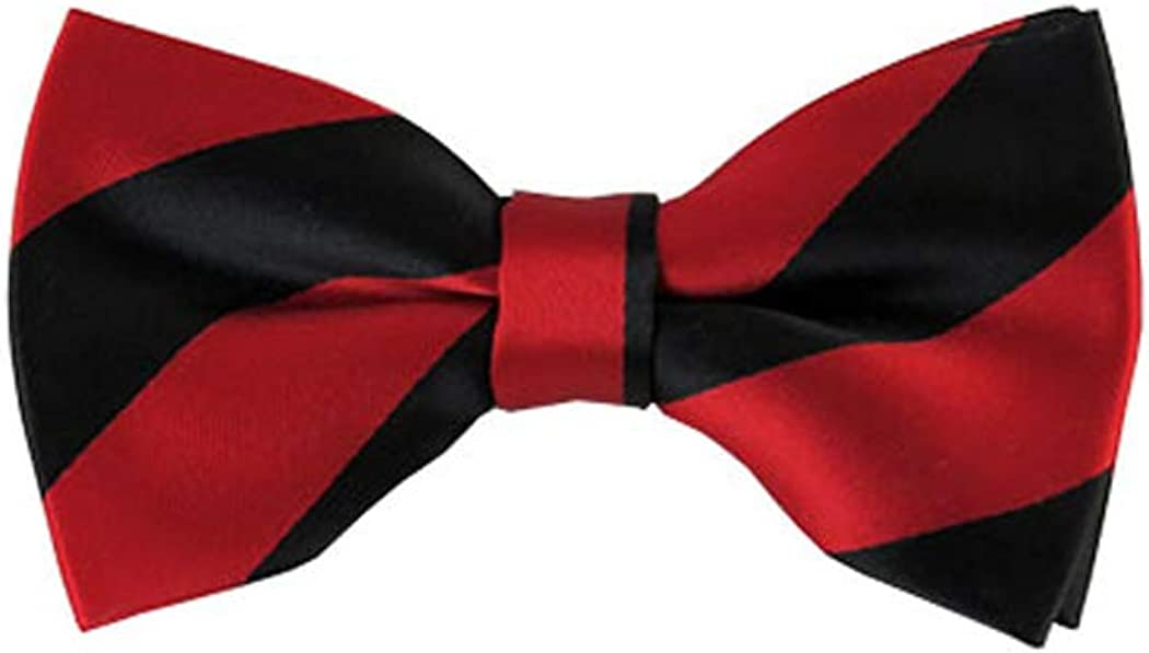 Black and Red College Stripe Pre-Tied Bow Tie