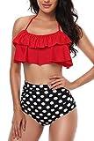 Women High Waisted Swimsuit Flounce Swimwear Racerback Vintage Two Piece Bikini(Red,S)
