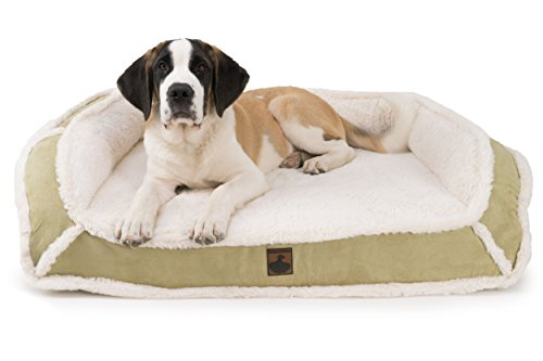 K9 Ballistics Orthopedic LUX Bolster Bed Cream Fur/Khaki Tan Micro - Small (18' x 24' x 5')