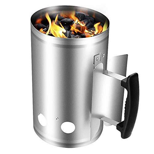 XFSD Rozrusznik kominka z węglem drzewnym, wysokiej pojemności galwanizowany stalowy kominek Starter do grilla węgla drzewnego i brykietu węglowego, kominek rozpalający, srebrny