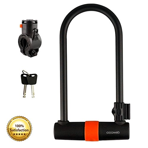 Cocoweb Sport Armbar Curl Bracket Bike Security U-Lock with Attachabe Carrying Mount and Weather Guard Protection - Orange SL-CURL