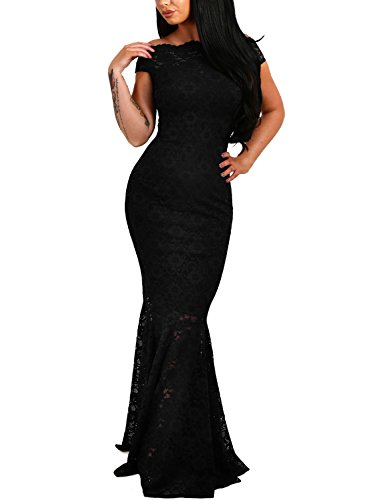 Elapsy Womens Sexy Off Shoulder Bardot Lace Evening Gown Fishtail Maxi Dress...