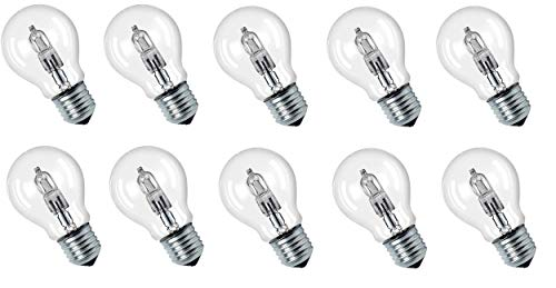 10 x Eco Halogen Glühbirne 42W = 56W Ersatz für 60W E27 klar Glühlampe 2000h warmweiß dimmbar