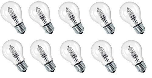 Lot de 10 ampoules halogènes Eco 42 W = 56 W équivalent à une ampoule à incandescence de 60 W E27 Transparent 2000 h Blanc chaud Intensité variable