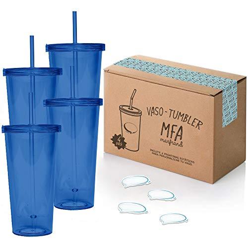 Bicchieri di plastica Rigida con Coperchio e Cannuccia, Senza BPA, con Adesivi riutilizzabili e eBook da Cocktail – Set di 4 Bicchieri di plastica riutilizzabili da 700 ml – Marfrand (Blu)