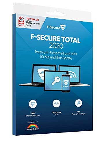 F-Secure TOTAL Security und VPN - 2 Jahre / 3 Geräte für Multi-Plattform (PC, Mac, Android und iOS) [Aktivierungscode in Boxverpackung]