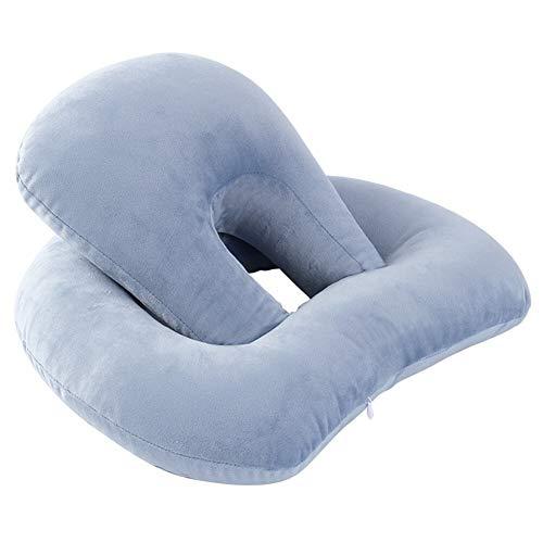 yywl Almohada reposacabezas cojín escritorio almohada almohada almohada almohada almohada almohada suave PP algodón cuello apoyo Home Lumbar huecas ajustable viaje doble capa elástica