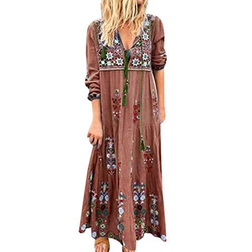 BODOAO Women Boho Embroidered Plus Size V Neck Print Long Sleeve Party Maxi Dress