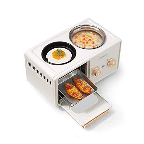 STRAW Horno eléctrico Desayuno máquina, Multi-función de Cuatro-en-uno Lazy máquina de Pan, Huevo Cocinar Artefacto (Color : White)
