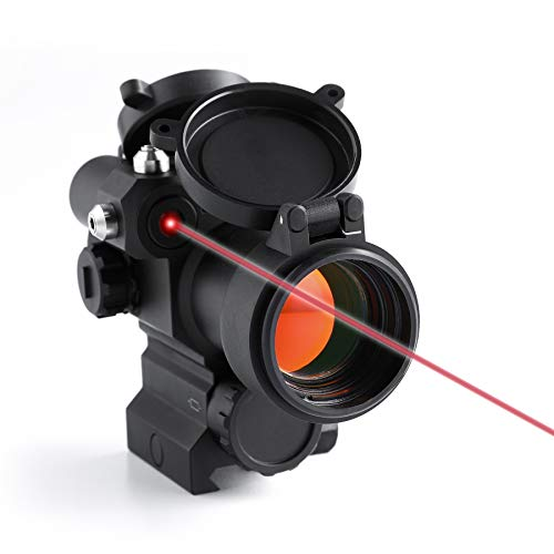 Pinty Pro 1x 30mm Red Dot Sight with Red Laser Sight 2 MOA Red Dot Scope with Flip Up Lens Caps