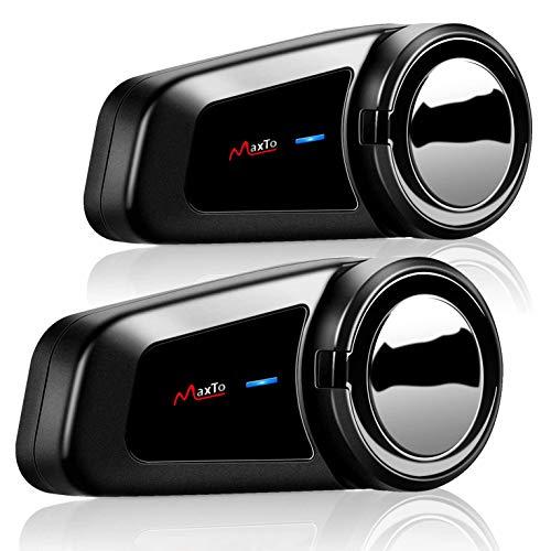 Interfono per auricolare per casco da motocicletta Bluetooth,M2 interfono per moto wireless full duplex per 6 ciclisti/portata 1000m, connettersi con qualsiasi auricolare Bluetooth(2 pezzi)
