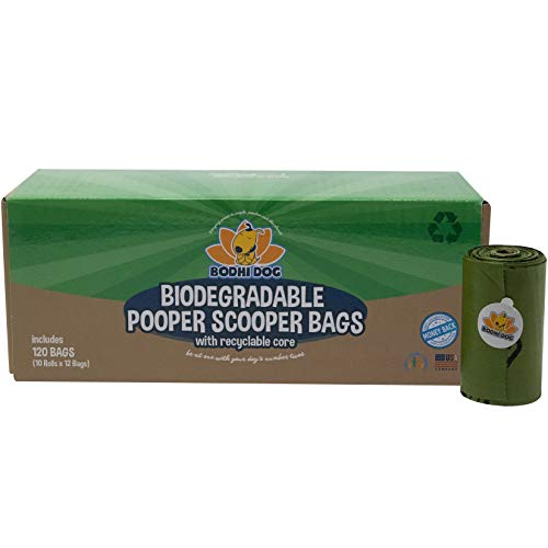 Bodhi Dog Biodegradable (100X Faster) Pooper Scooper Bags with Recyclable Core | 120 Thick 100% Leak Proof Pet Waste Bags | Fits Common 6 inch Poop Scoop Buckets