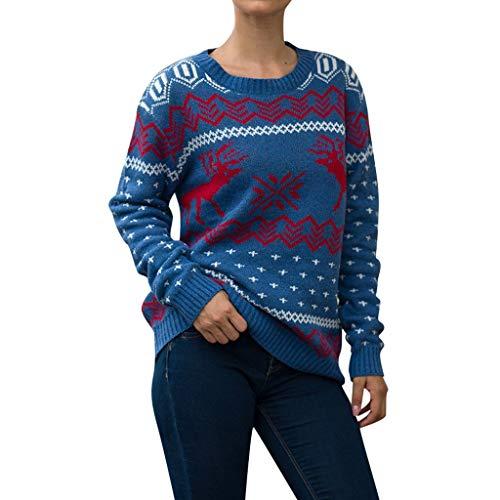 BIKETAFUWY Damen Lang Strickpulli mit Rentiermuster Weihnachtspullover Rundhals Winterpulli Christmas Sweater Winter Pullover Strickpullover Grobstrick Weihnachtspull für Christmas