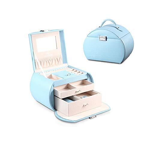 LANLANLife Caja de joyería Mujer Princesa Europea de Corea de múltiples Capas Gran Capacidad Caja de Almacenamiento de joyería de la Mano Novias Regalo de Boda (Color : Sky Blue)