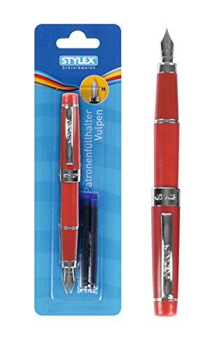 Patronenfüllhalter / Füller + 3 Maxi Tintenpatronen / Farbe: rot