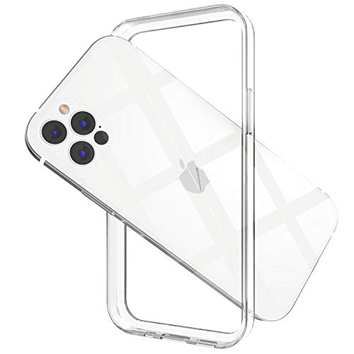 ANHONG Clear Frame Case Compatible with iPhone 12 Pro Max 6.7 inch, Slim Fit Ultra Thin PC + Soft TPU No-Back Bumper Case