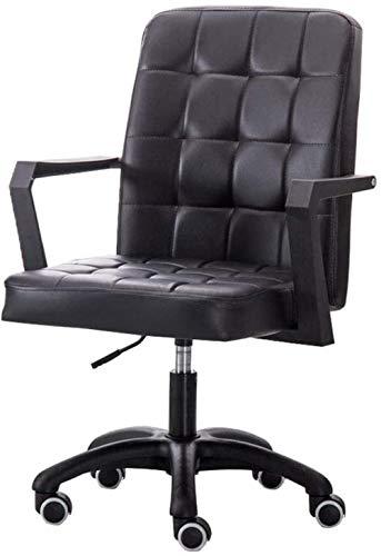 LIUBINGER Silla de Oficina Las sillas de Escritorio de Cuero de imitación del Ministerio del Interior de Ordenador Silla giratoria de heces en Las Ruedas, 8Cm Altura Ajustable (Color : Black)