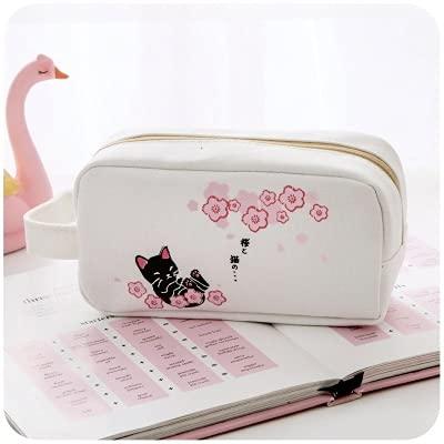 PPuujia Sakura - Estuche para lápices con diseño de gato, color caramelo, para escuela, niña, soporte para lápices, estuche organizador de flores, color blanco