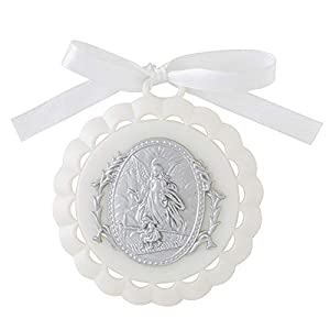 Moulded Crib Medal with Guardian Angel for Baby Nursery Room Decor, 3 1/4 Inch (White)