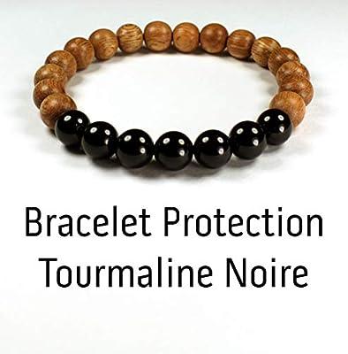 Bracelet protection contre les ondes électromagnétiques wifi 5G, bracelet tourmaline noire et perle de bois, protection 5g anti ondes wi fi