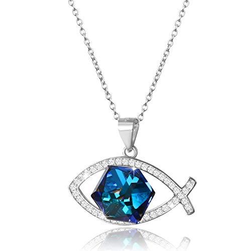 Aroncent Collar Mujer con Swarovski Cristal Azul Bermuda 925 Plata de
