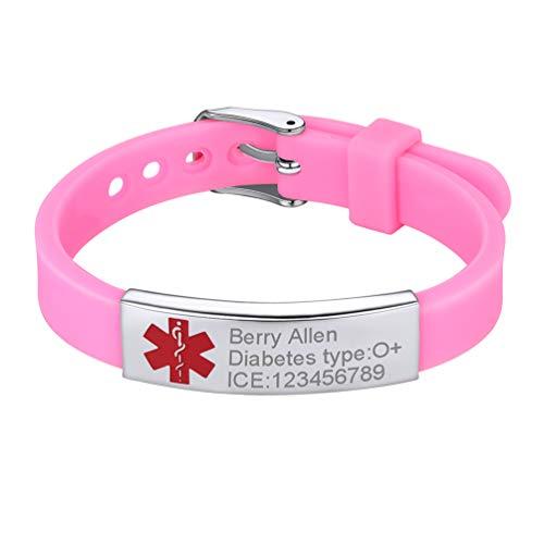 PROSTEEL Personalized Medical Alert ID Bracelet Autism Dementia Diabetic Pink Silicone Wrist Bracelet Women Girl Kids Emergency Contact Jewelry