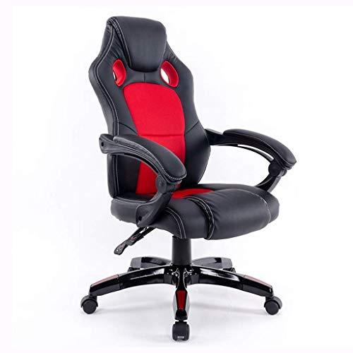 N/Z Living Equipment Bürostuhl mit hoher Rückenlehne Verstellbarer ergonomischer Schreibtischstuhl mit gepolsterten Armlehnen Executive PU-Drehstuhl aus Leder mit Lordosenstütze (Farbe: Schwarz)