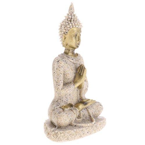 LoveinDIY Mini Shakyamuni Buddha Decorative Statue, Hand Carved Sandstone Buddha Collectible Figurine Shelf Display Home Decoration, 3-4 inch - 8x5.5x2.5cm