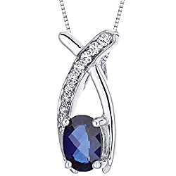 Peora created sapphire pendant sterling silver checker cut