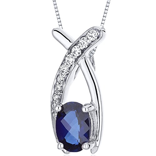 Created Sapphire Pendant Necklace Sterling Silver 1.00 Carats Checker Cut