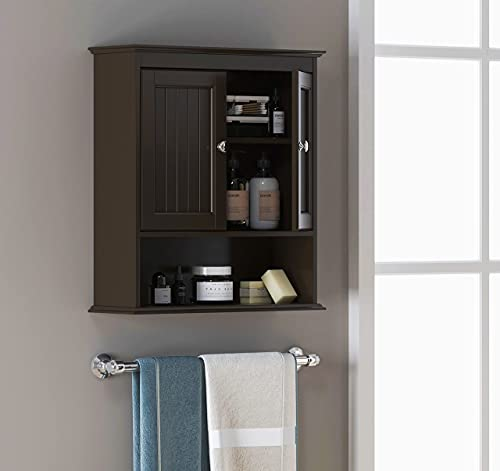Spirich Home Bathroom Cabinet Wall Mounted with Doors, Wood Hanging Cabinet, Wall Cabinets with Doors and Shelves Over The Toilet, Bathroom Wall Cabinet,Espresso