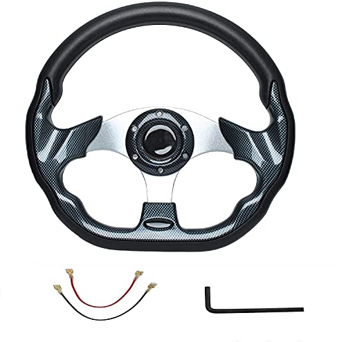 Universal Golf Cart Steering Wheel Carbon Fiber for Compatible with EZGO Yamaha Club Car DS and Precedent Aluminum PU Handle with Wrench