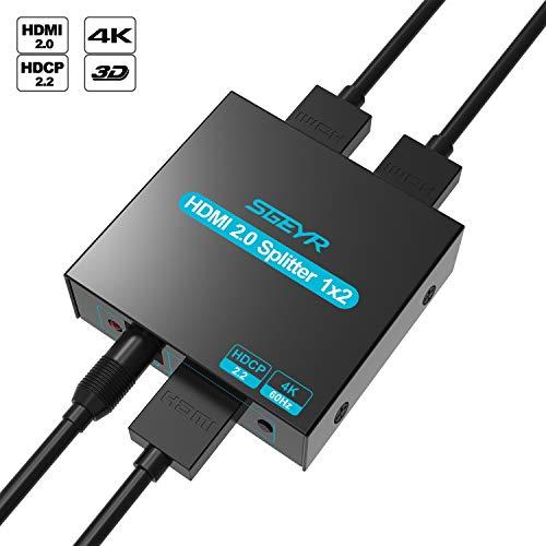 SGEYR 1x2 Port HDMI 2.0 Splitter 1 in 2 Out 4K@60HZ HDMI Verteiler Verstärker 1 auf 2 Unterstützung HDCP 2.2 4K HDR YUV4:4:4 3D 1080p für Xbox PS4 Pro HDTV
