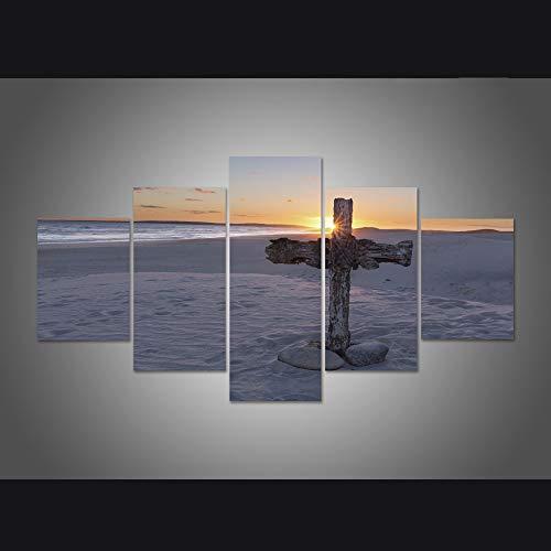 WJDJT 5 Stuks Art Print Schilderij Canvas, Canvas Prints Kruis Op De Duinen Met Uitzicht op Zee Foto's Schilderijen Op Doek Muur Kunst Voor Woonkamer Slaapkamer Huisdecoratie 150X80Cm