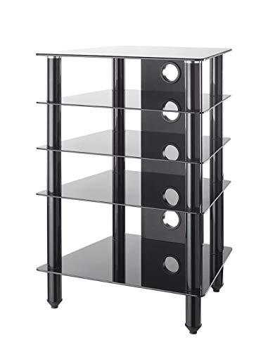 MMT Furniture Designs HFBLK610 base da pavimento per tv a schermo piatto Supporto fisso da pavimento a pannello piatto Nero