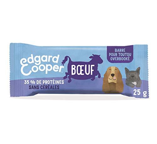 Edgard & Cooper - Barrita de proteína Natural sin Cereales de Vacuno Fresco, Bolsa de Bolsillo de 25 g, con energía para Salir a la Aventura