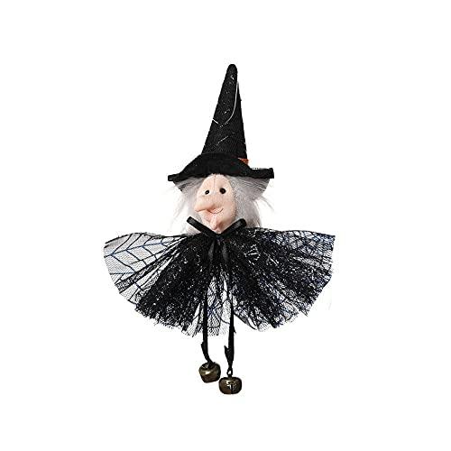 CHICMALL Decoración de Halloween Decoración de Barra de Fiesta Calabaza Fantasma Bruja Colgante de Gato Negro Colgante de Bruja Aterradora