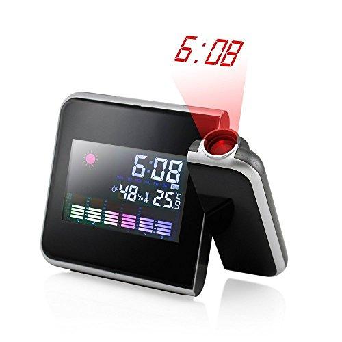 MIRAIS 温湿度計 LED 電子時計 アラーム 投影 室内 温度計 湿度計 スタンド プロジェクター バックライト MI-PROCLO