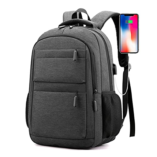Backpack Bookbag For School College Student Travel Business Hiking Fit With Usb Charging Port Water Resistant 15.6 Inch (Grey)