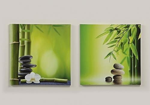2er Set Wandbild Bambus Stein je 40cm auf Rahmen