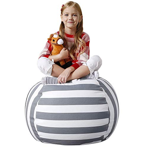 Aubliss Stuffed Animal Bean Bag Storage Chair, Beanbag Covers Only for Organizing Plush Toys, Turns into Bean Bag Seat for Kids When Filled, Premium Cotton Canvas, 32' Large Grey/White Striped