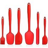 Juego de espátulas de silicona, utensilios de cocina, utensilios de cocina de silicona antiadherente resistente al calor, espátula de silicona para hornear, cocinar y mezclar juego de 6 piezas