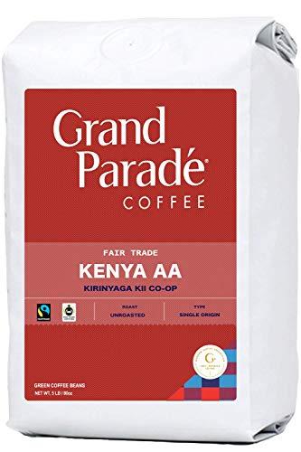 Grand Parade Coffee, 5 LB Unroasted Kenya AA Coffee Beans - Award Winning Kirinyaga Kii Single Origin - High Altitude Specialty Arabica - - Fair Trade - Fresh Raw Green Coffee - 5 Pound Bag